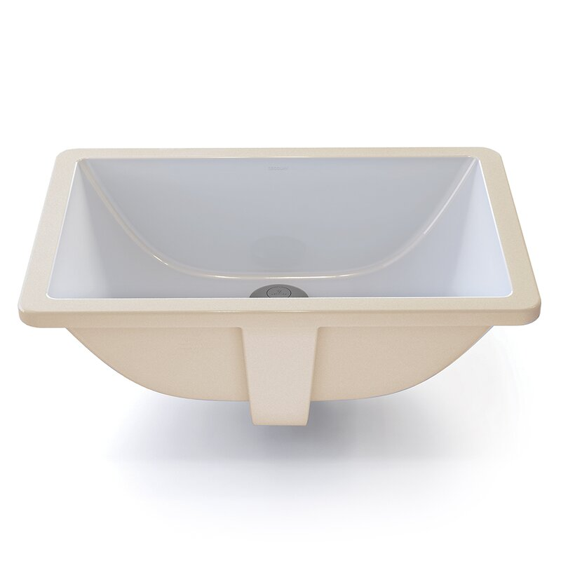 Callensia® Classically Redefined Ceramic Rectangular Undermount Bathroom  Sink With Overflow