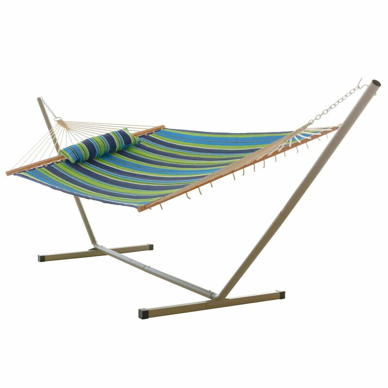 Sol 72 Outdoor  Amaryllis Quilted Tree Hammock with Stand Color: Blue and Green Stripe