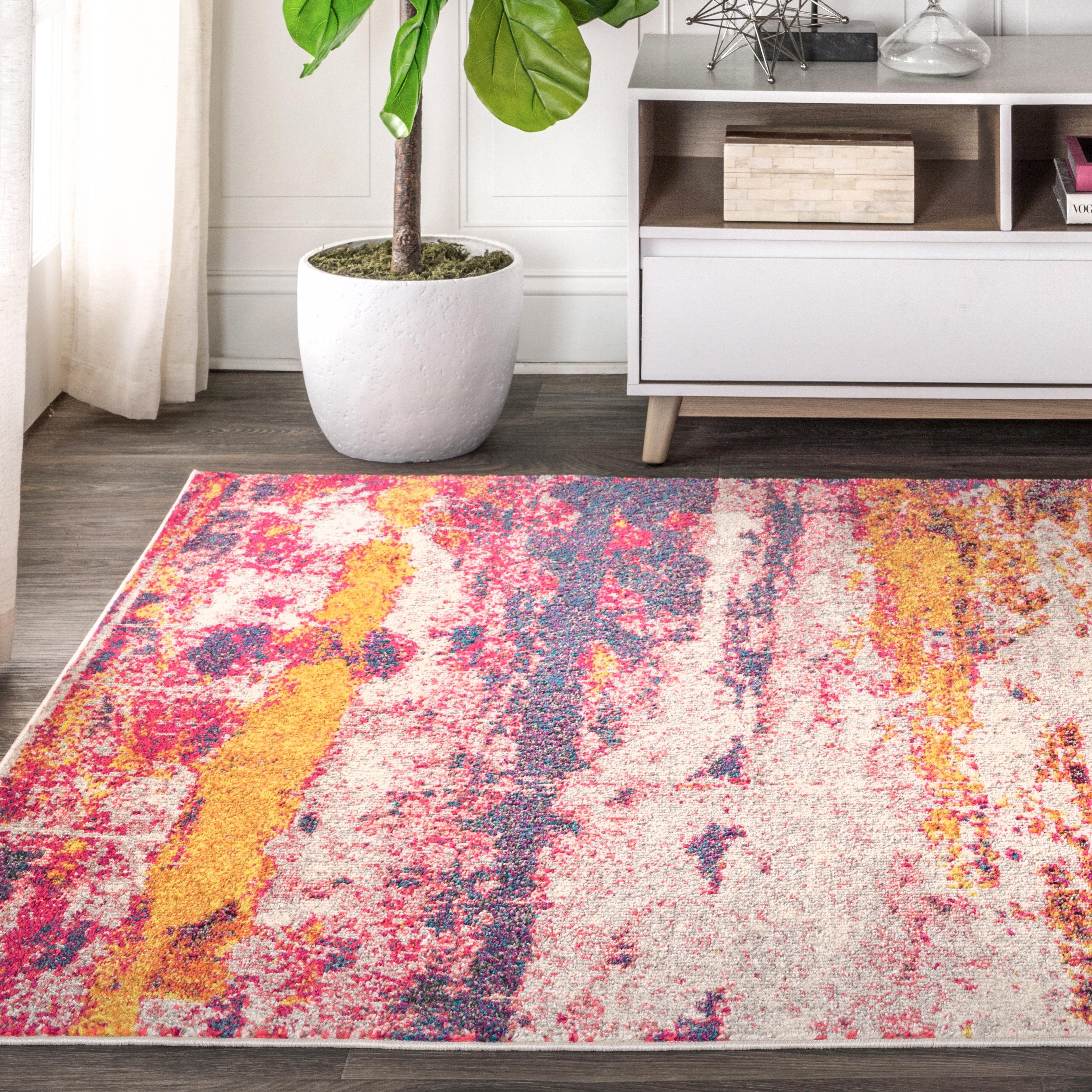 Bungalow Rose Lasley Power Loom Pink Cream Yellow Rug Reviews Wayfair