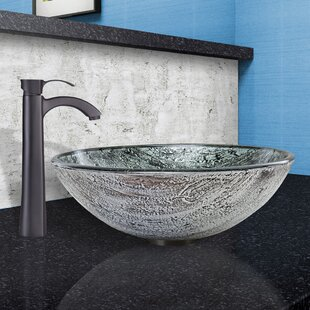 VIGO Titanium Glass Circular Vessel Bathroom Sink with Faucet