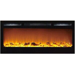 Jemaine Black Wall Mount Electric Fireplace by Orren Ellis