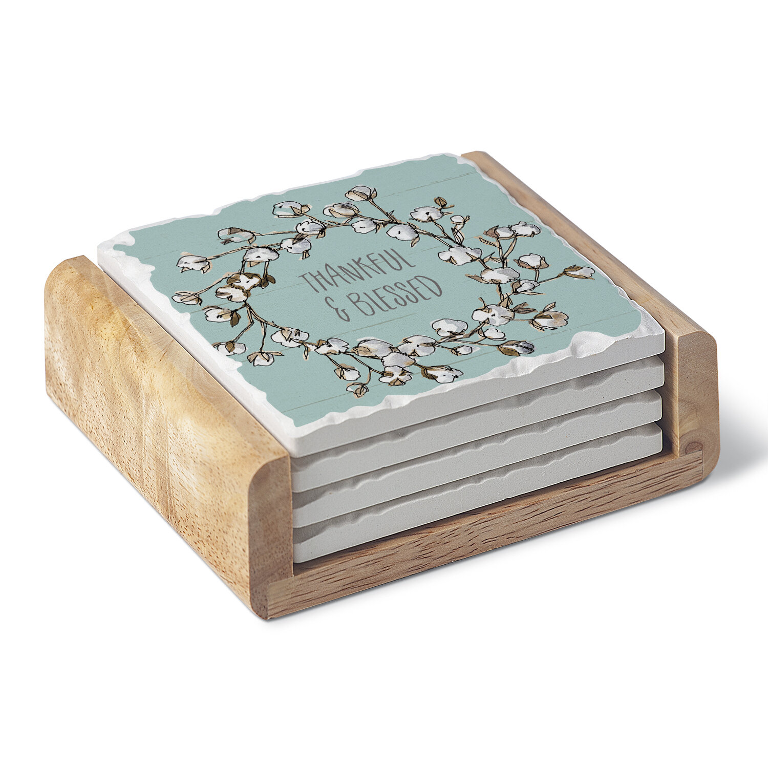 Gracie Oaks Country Life Single Image Absorbent Stone Coaster Set With Holder Wayfair