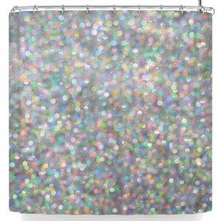 East Urban Home Susan Sanders Rainbow Silver Glitter Shower Curtain