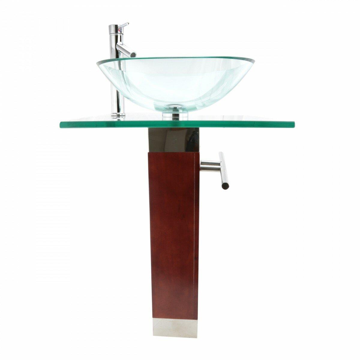 bohemia glass 24 pedestal bathroom sink with faucet