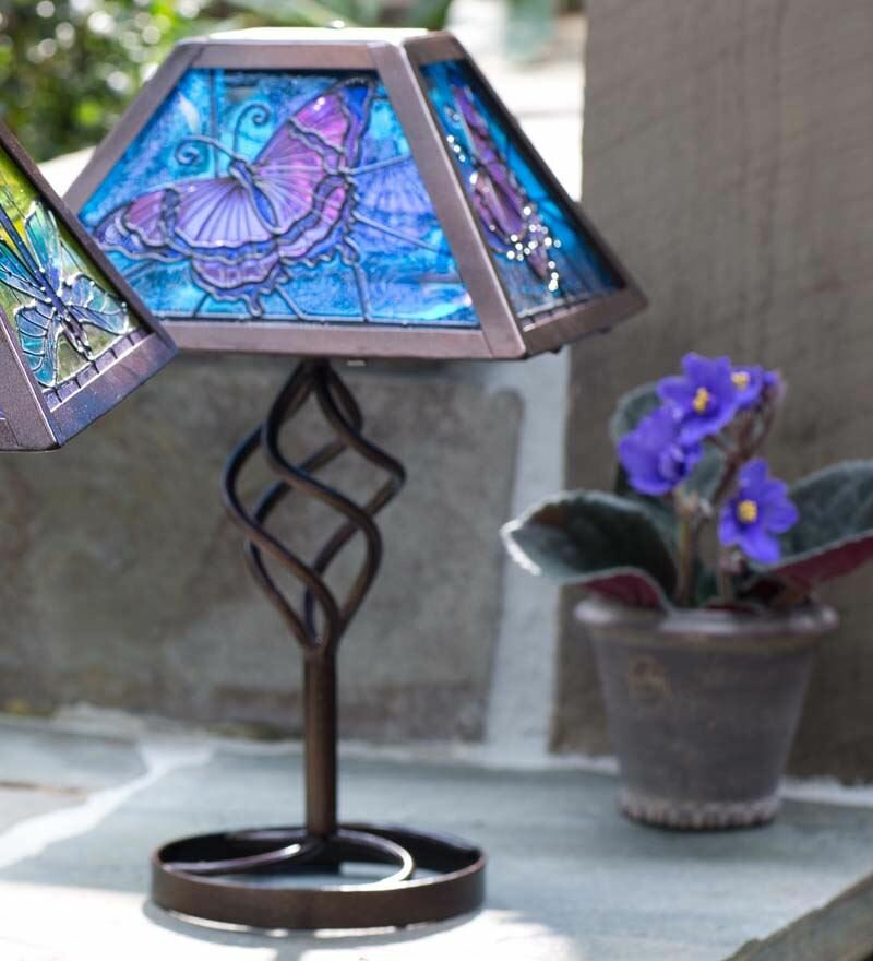 Plow hearth tiffany style butterfly solar outdoor 1275 table plow hearth tiffany style butterfly solar outdoor 1275 table lamp reviews wayfair aloadofball Choice Image