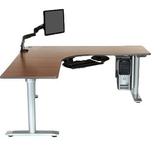 Vox L-Shape Standing Desk with Bow Front by Populas Furniture