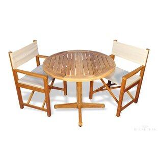 Bayou Breeze Bodalla 3 Piece Teak Sunbrella Dining Set with Cooler Insert