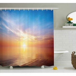 Reviews Buchanon Sunrise Magical Horizon Seascape Bay Ocean Coastal Charm Sky Tranquil Summer Image Shower Curtain By Highland Dunes