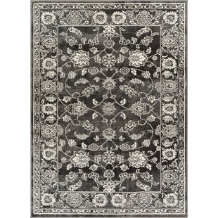 Best Price Hartl Passion Floral Gray/White Area Rug By Bungalow Rose