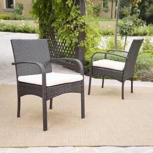 Abdullah Patio Dining Chair with Cushion (Set of 2)