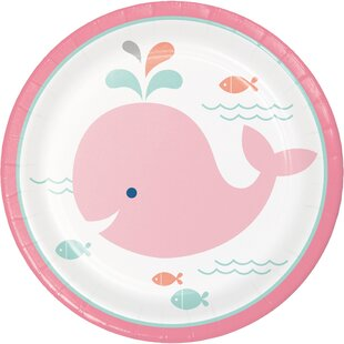 Pink Baby Whale Paper Appetizer Plate (Set of 24)