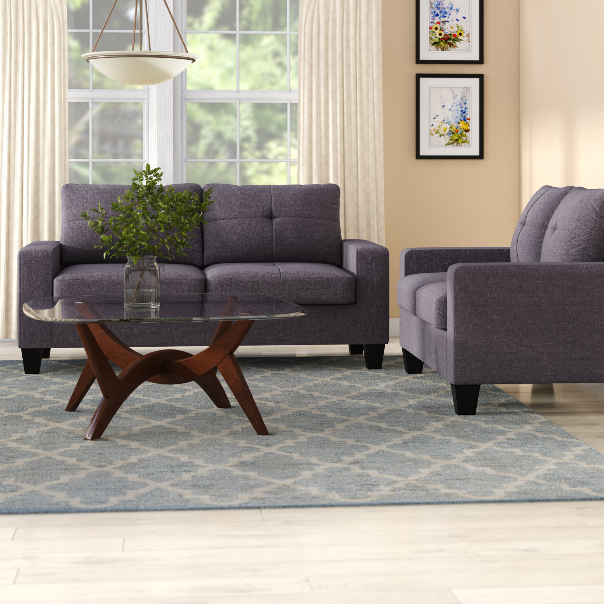 Home Square 2 Piece Living Room Set with Loveseat and Armchair in Gray