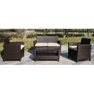 Borne 4 Piece Rattan Sofa Seating Group with Cushions