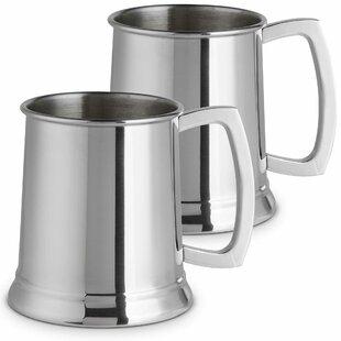 Ancheta Beer 550ml Stainless Steel Print Glass (Set Of 2) By Metro Lane