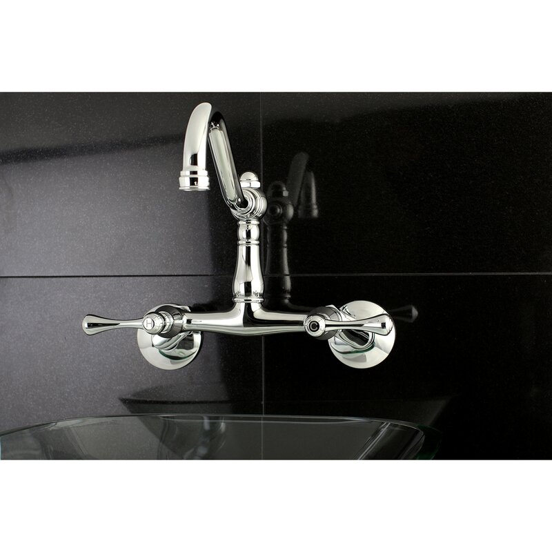 Vintage Double Handle Wall Mount Kitchen Faucet