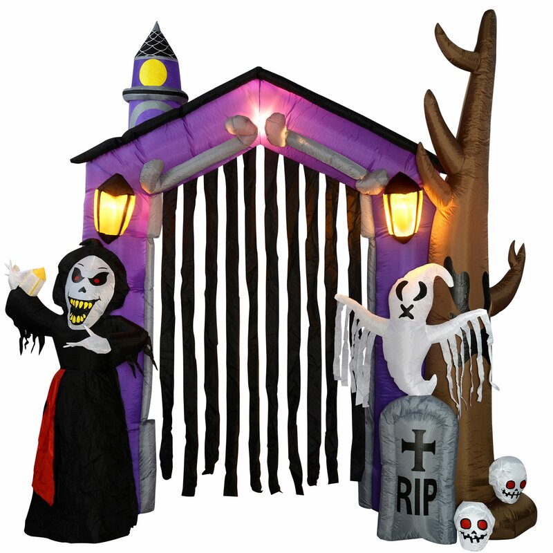 haunted house inflatable halloween with light and fan
