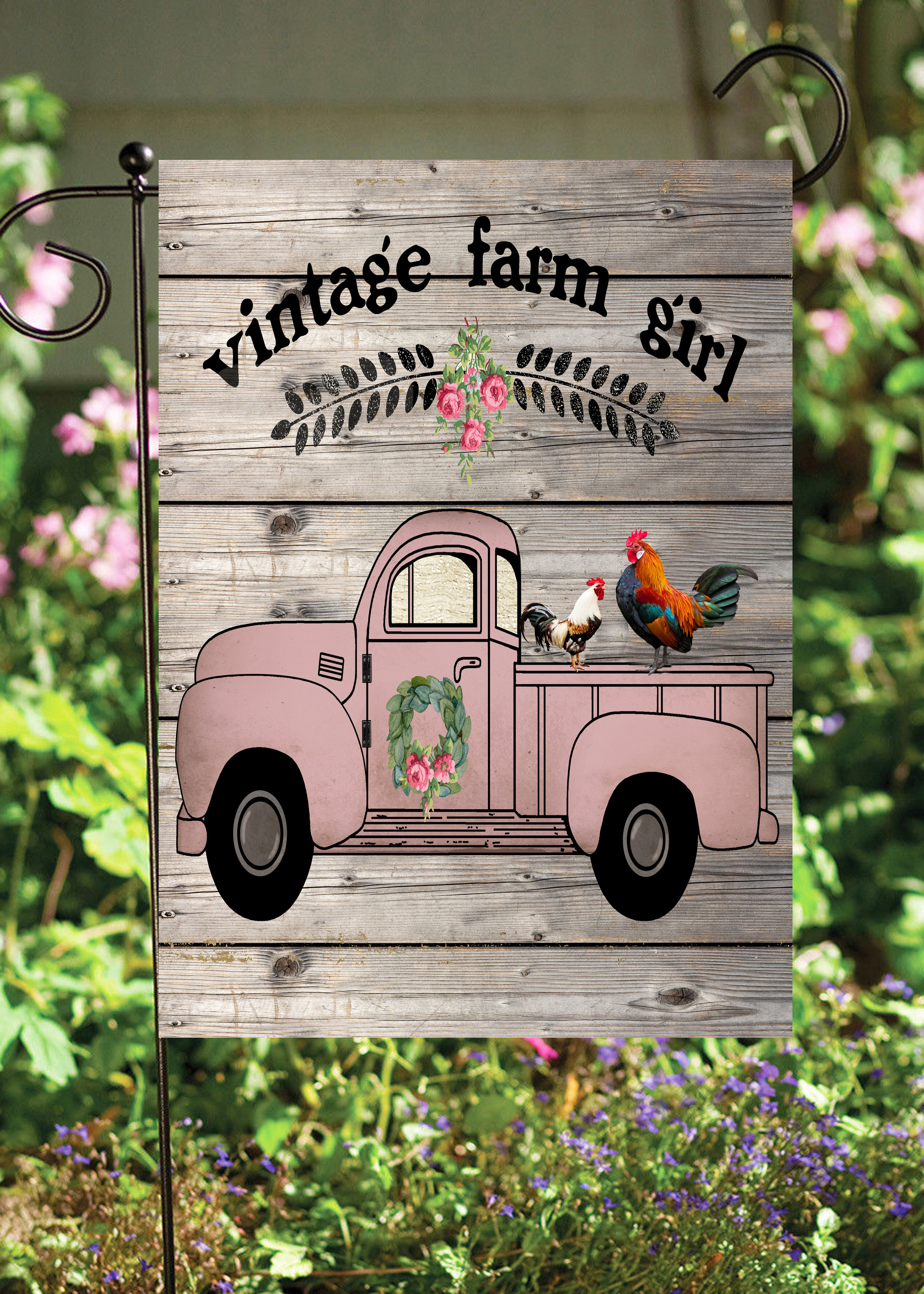 Flags Galore Decor And More Farm Girl Truck 2 Sided Polyester 18 X 12 In Garden Flag Wayfair