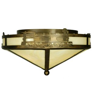 Meyda Tiffany Train 3-Light Flush Mount