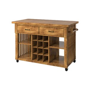 Fortville Kitchen Cart with Wood by Three Posts