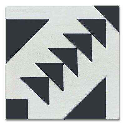 """Tadla 8"""" X 8"""" Handmade Cement Tile in Black/White"""