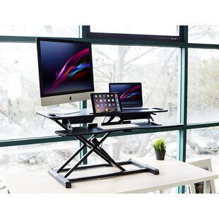 Claireville Dual Monitors Height Adjustable Standing Desk Converter by Symple Stuff Wonderful