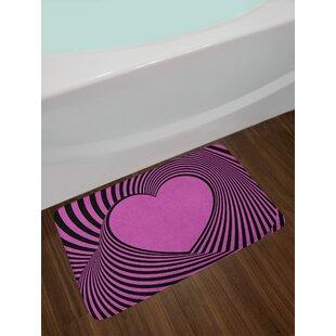Heart Pink Zebra Bath Rug