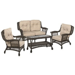 Depew Outdoor Garden Furniture 4 Piece Seating Group with Cushions