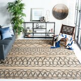 Heer Kilim Hand-Tufted Cotton Natural/Charcoal Area Rug
