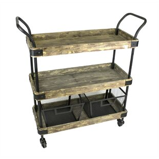 Minnis Industrial 3 Tiered Bar Cart by Williston Forge