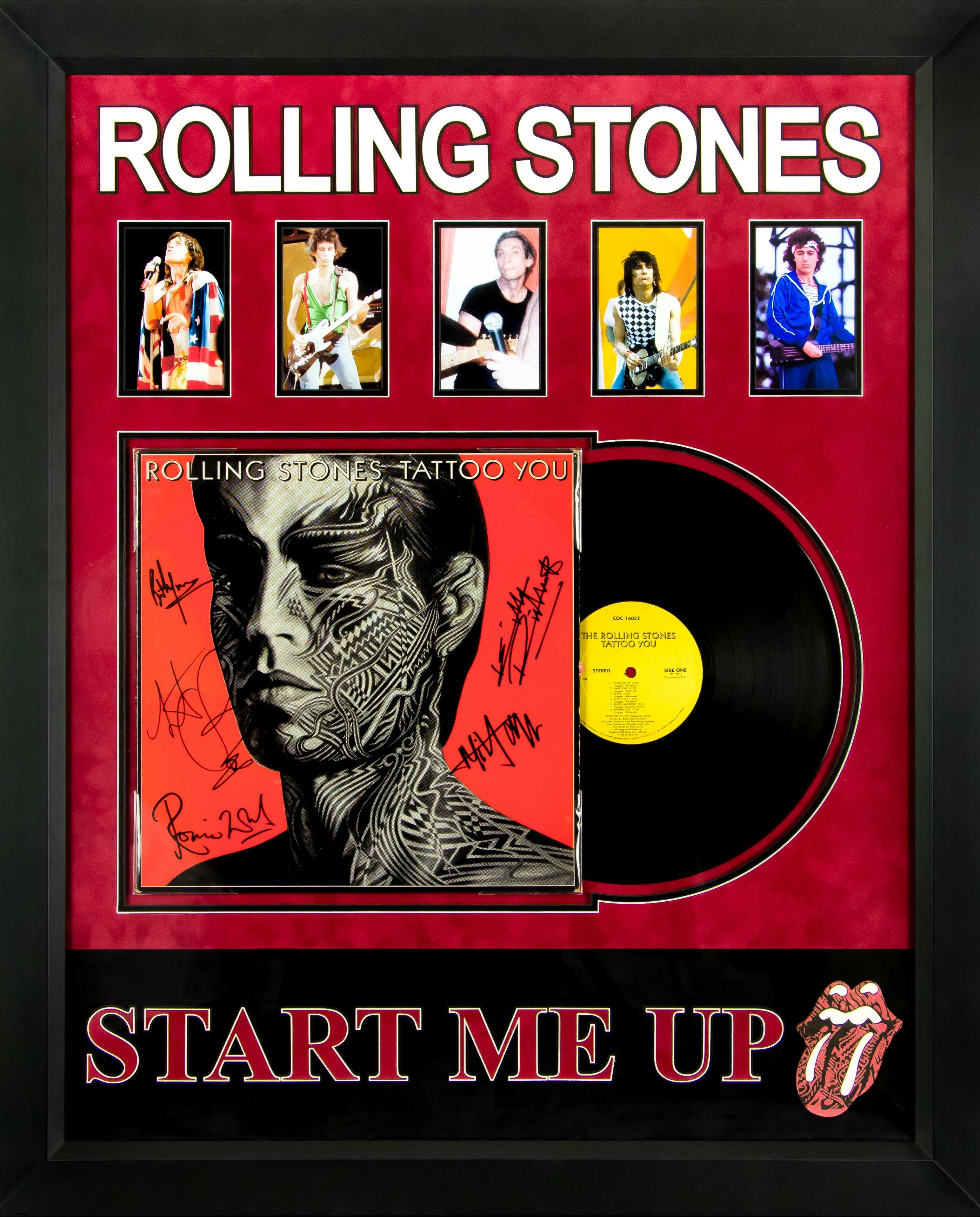 Rolling Stones Start Me Up Tattoo You Framed Autographed Album Collage