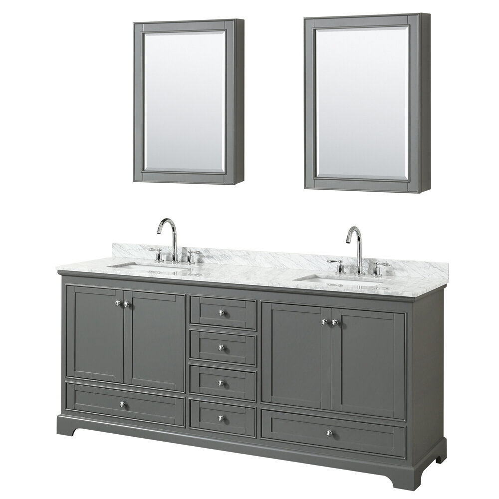 Wyndham Collection Deborah 80 Double Bathroom Vanity Set With Medicine Cabinet Wayfair
