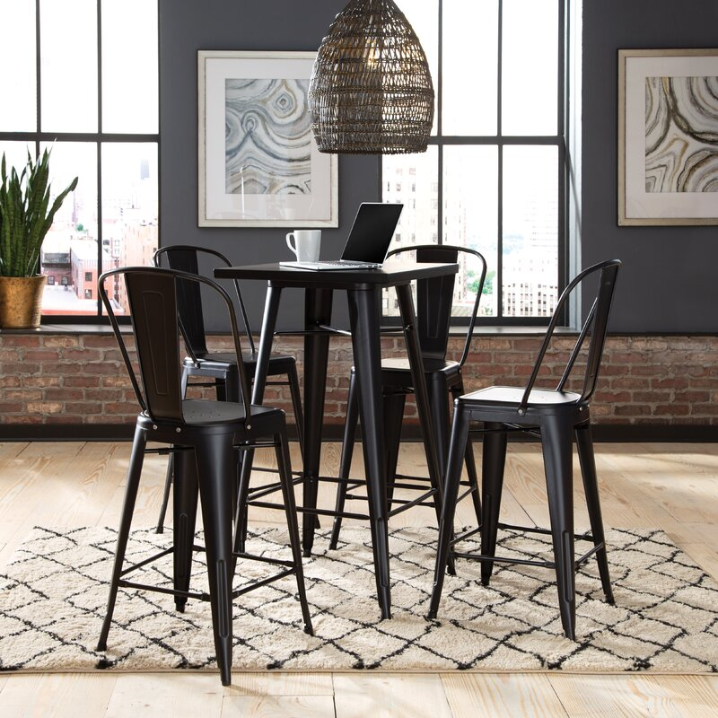 Black Darrius Bar Height Dining Table by Williston Forge