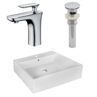Above Counter Ceramic Rectangular Vessel Bathroom Sink with Faucet and Overflow By Royal Purple Bath Kitchen
