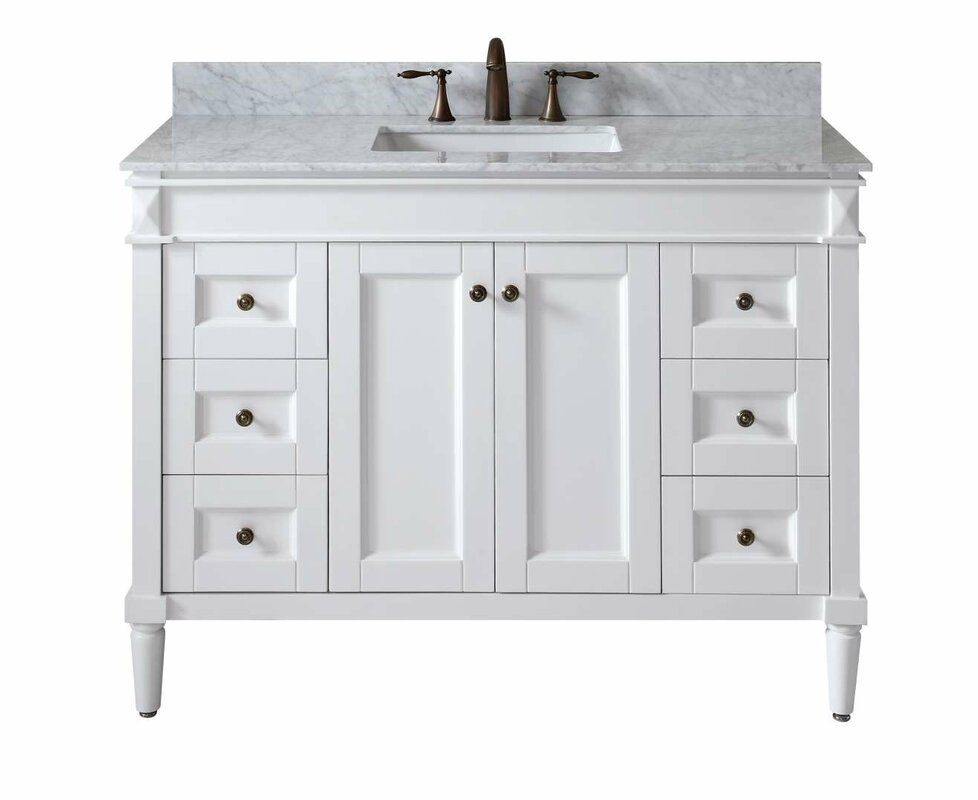 "Tiffany 48"" Single Bathroom Vanity Set with White Marble Top"