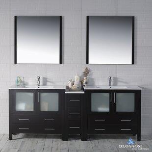 Mance Modern 84 Double Bathroom Vanity Set with Mirror by Orren Ellis