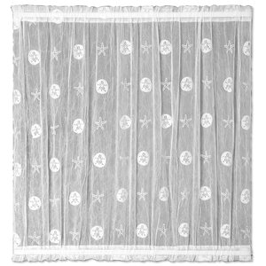 Sand Dollar Graphic Print & Text Sheer Rod pocket Single Curtain Panel
