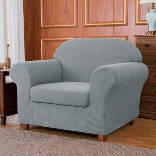 jacquard high stretch box cushion two pieces armchair slipcover
