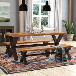 Loon Peak Batavia Acacia Wood 3 Piece Dining Set