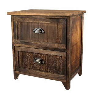 Millwood Pines Steinfeldt Classic Rustic Wood Storage 2 Drawer Nightstand