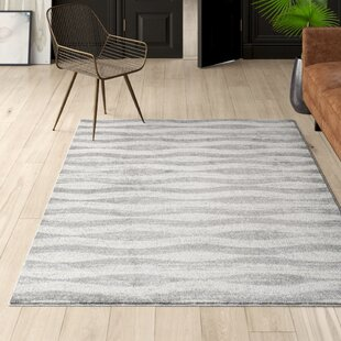 Pantheras Abstract Waves Gray/White Area Rug by Mercury Row