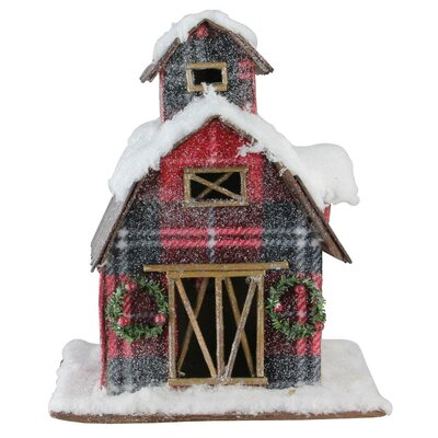 Holiday Moments Classic Plaid Snow Covered Barn Christmas Decoration The Holiday Aisle