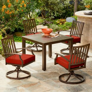 Yandel Bridgeport 5 Piece Dining Set with Cushions