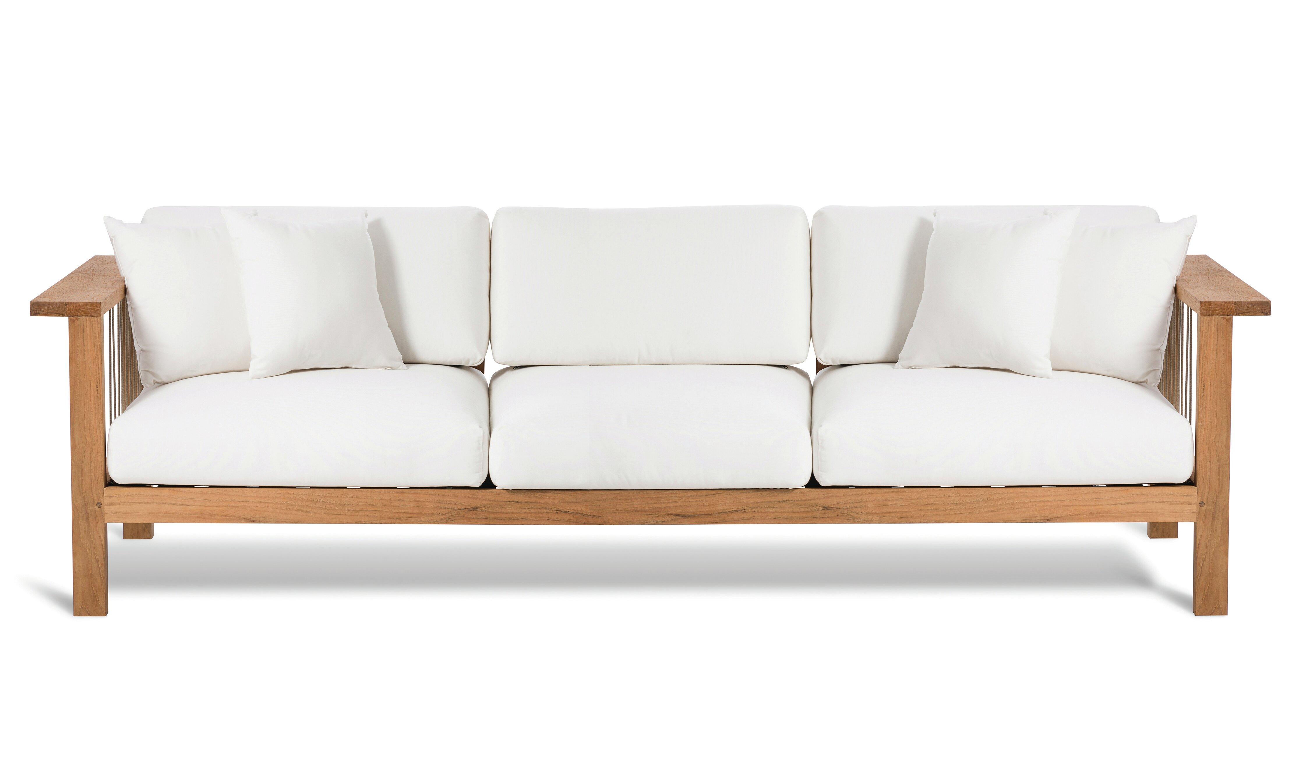 Maro Teak Patio Sofa With Sunbrella