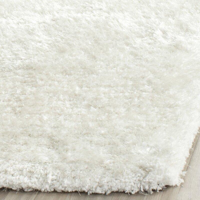 white shag rug. Maya Snow White Shag Rug -