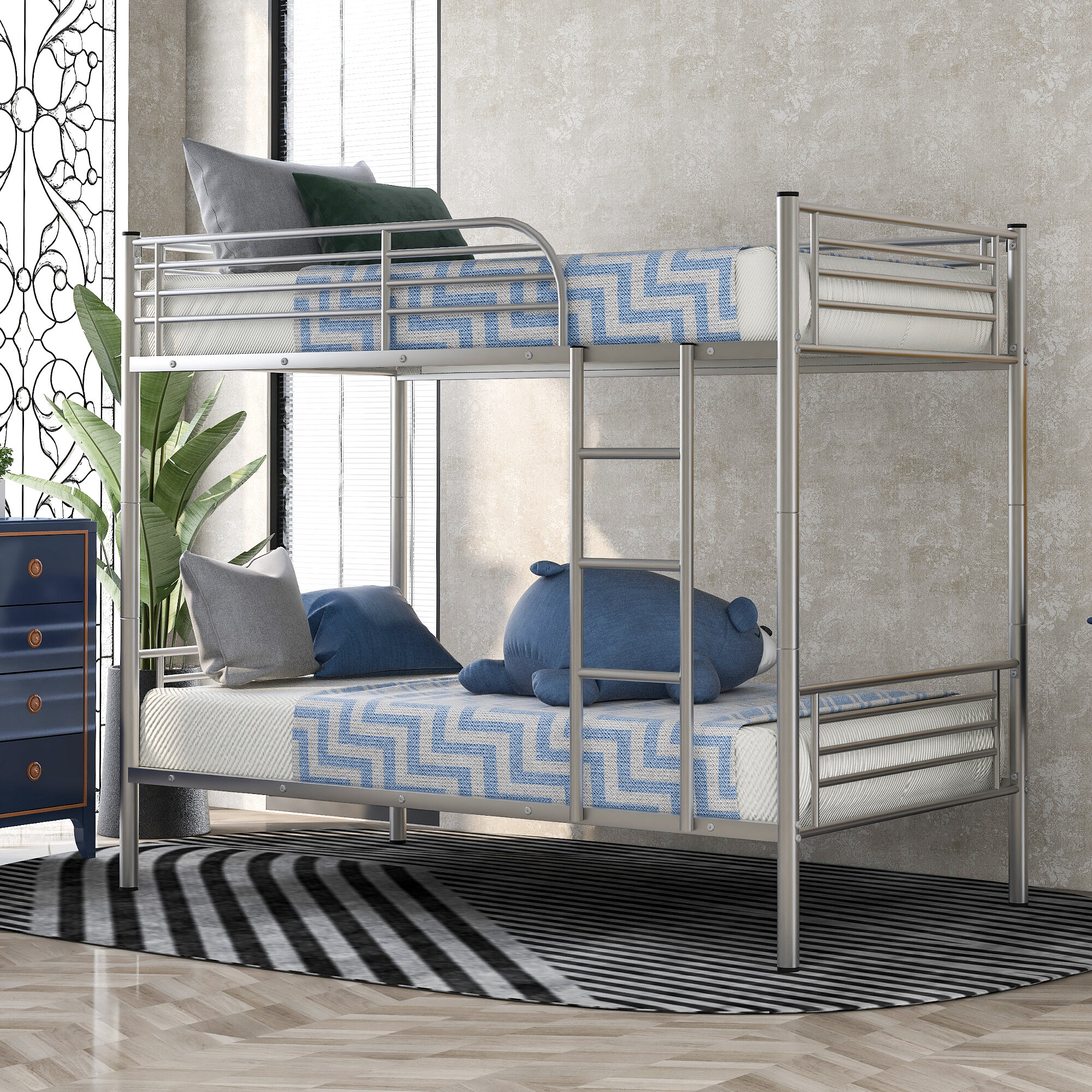 Image of: Isabelle Max Twin Over Full Bunk Bed Metal Frame Bunk Bed For Bedroom Dorm Boys Girls Adults Wayfair