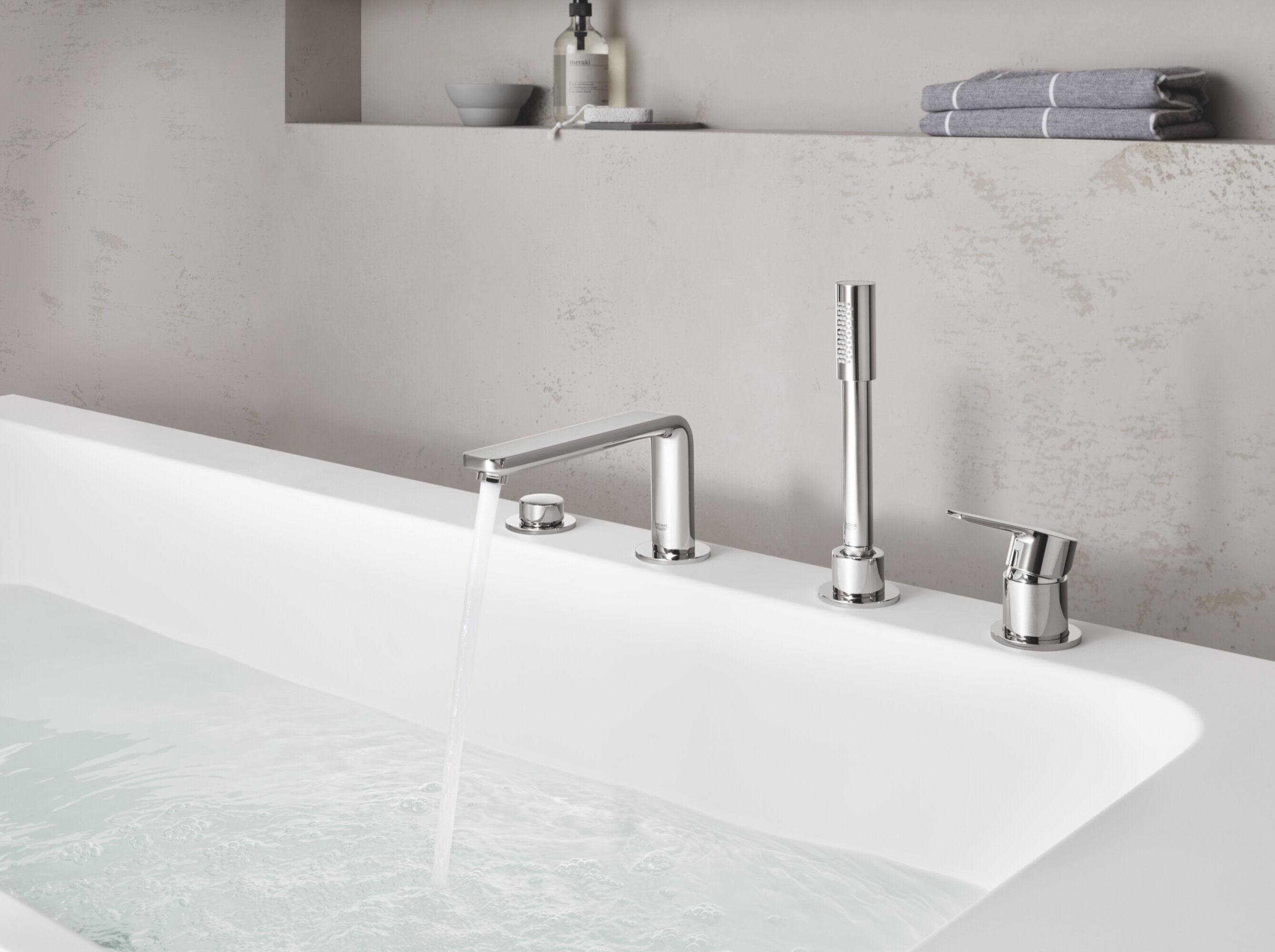 Grohe Lineare Double Handle Deck Mounted Roman Tub Faucet With Diverter And Handshower Wayfair