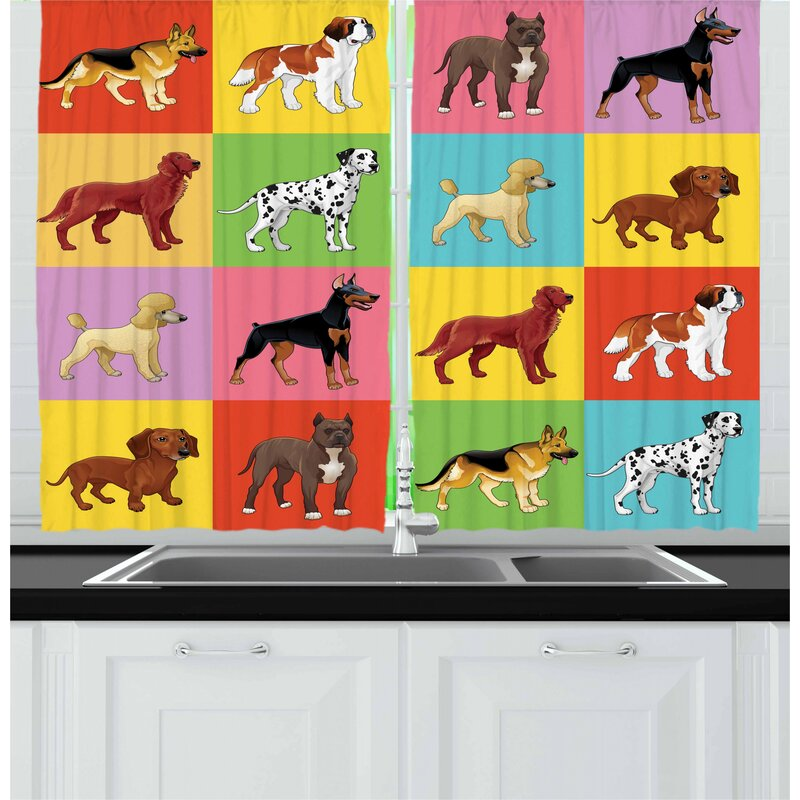 East Urban Home Dogs 2 Piece Kitchen Curtain Set Wayfair