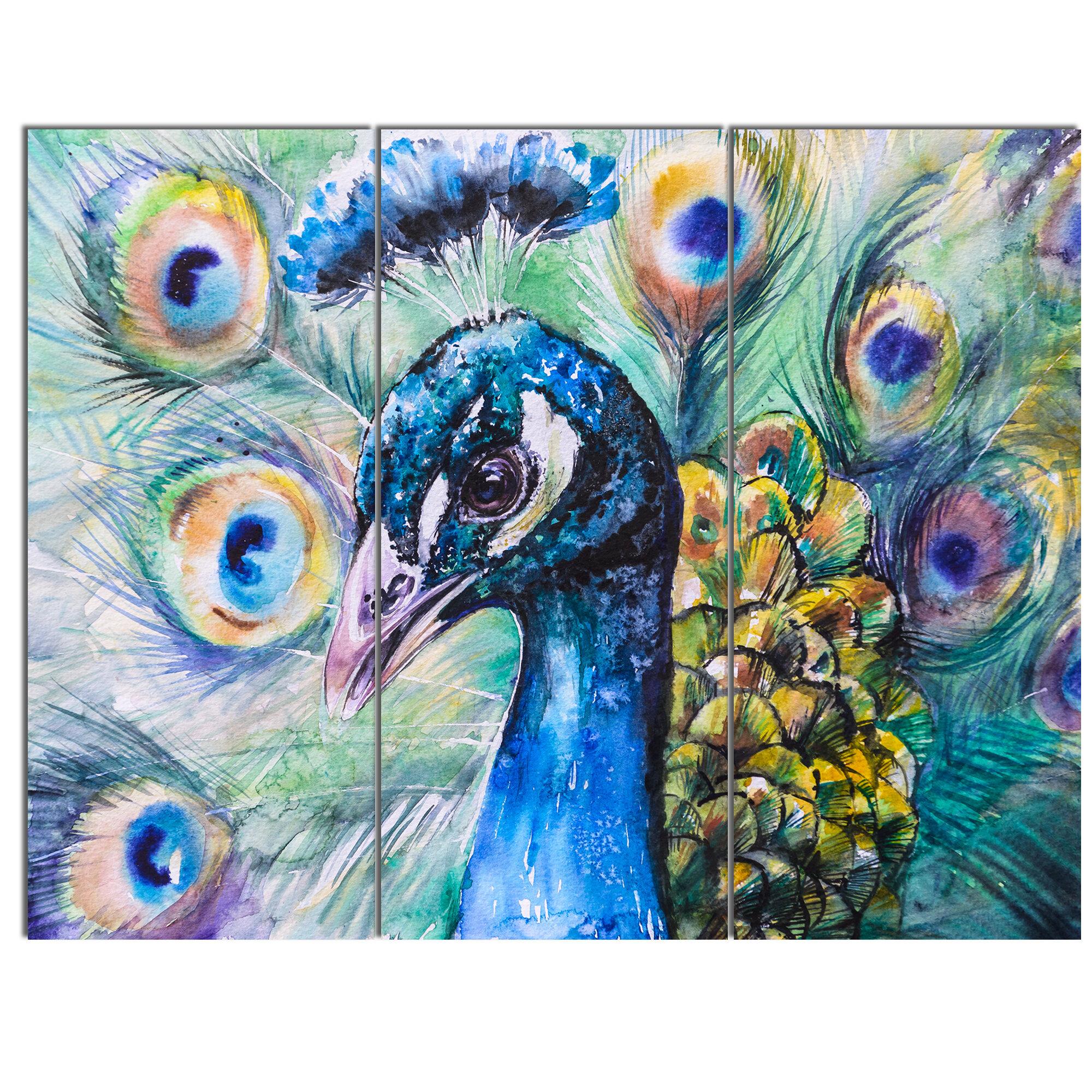 Brand-new DesignArt 'Beautiful Peacock Watercolor' 3 Piece Wall Art on  IN48