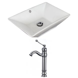 Shopping for Ceramic Rectangular Vessel Bathroom Sink with Faucet and Overflow ByAmerican Imaginations