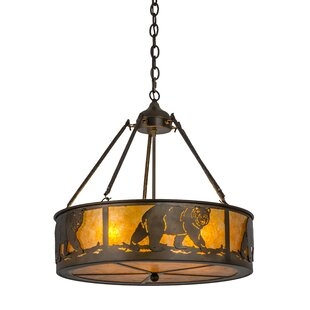 Meyda Tiffany Northwoods Lone Bear 4-Light Pendant